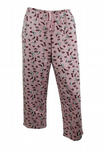 Wholesale Womens Ex Chainstore Pyjama 3/4 Bottoms Butterfly Print PJ Lounge Pink